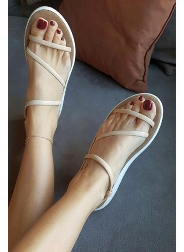 Topukla B51 Hakiki Deri Bodrum Sandalet Ten